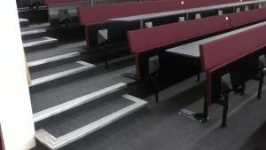 Heckmondwike Supacord carpet and Treads UK stairnosings installed in an Auditorium