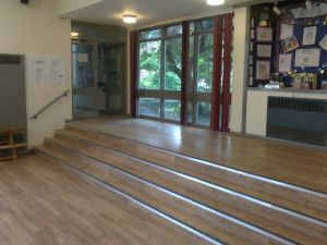 Karndean LVT installed to a hall floor with nosing's to steps
