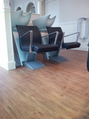Karndean LVT installed in a hair salon