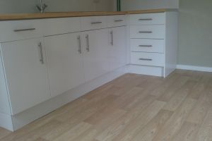 Domestic Kitchen following installation of cushionvinyl