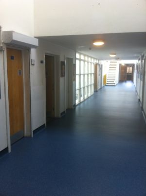 Gerflor Tarasafe Ultra with coved skirting installed in a school corridor