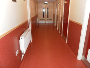 Gerflor Tarasafe Ultra with 1 metre high coved skirting installed in a school corridor